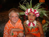 Gregg II and girl on Raiatea in traditional dress