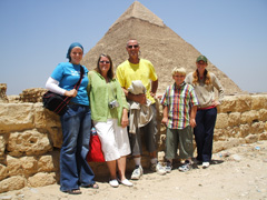 The Granger Family in front of the Pyramids of Giza, Cairo, Egypt